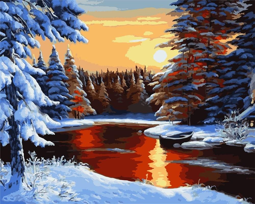 Картины по номерам/обложка. Пейзаж. Рассвет зимой 40*50