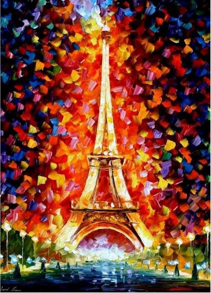 Картины по номерам/коробка.Городской пейзаж. Эйфелева башня в огнях. 40*50