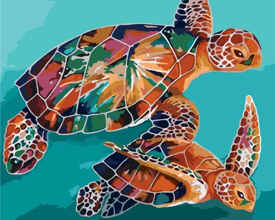 Картина по номерам / коробка, 40*50 Черепахи