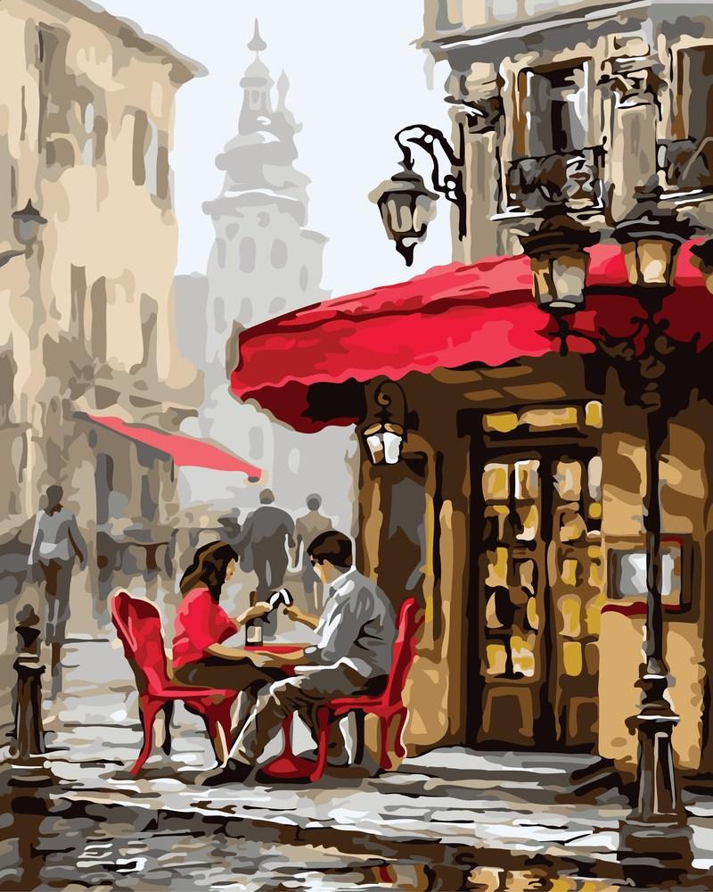 Картини по номерам /коробка.40*50. Городской пейзаж, Свидание в кафе