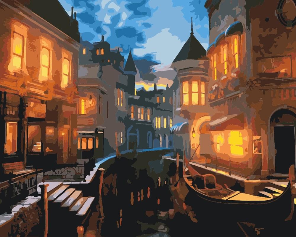 Картини по номерам /коробка.40*50. Городской пейзаж.Венецианский вечер