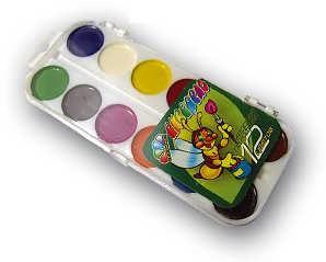Краски акварельные, медовые 12 цв., пластик, без кисти