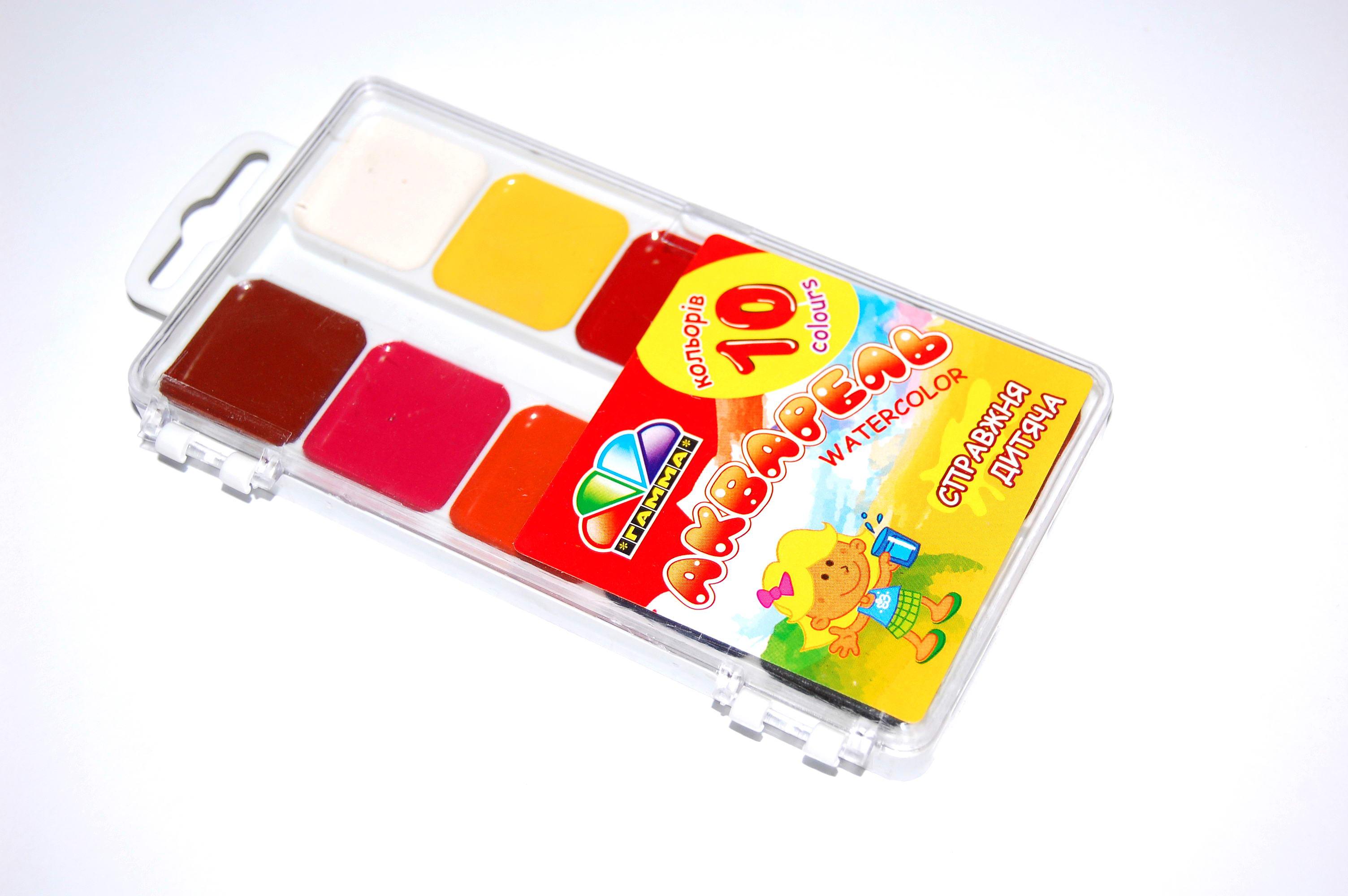 Краски акварельные, медовые 10 цв. без кисти, пластик