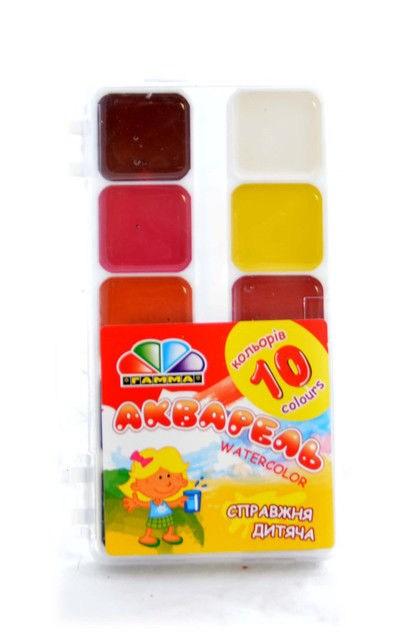 Краски акварельные, медовые 10 цв. с кистью, пластик