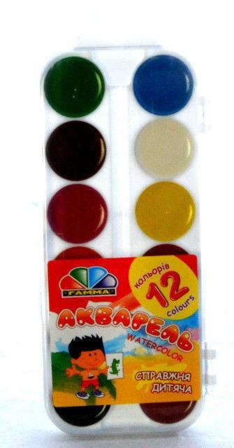 Краски акварельные, медовые 12 цв. с кистью, пластик