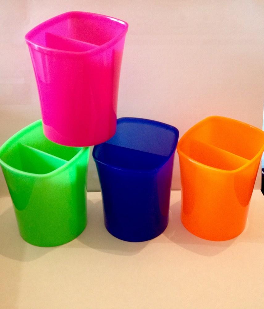 Подставка-стакан для ручек Квадро, пластик,  ассорти