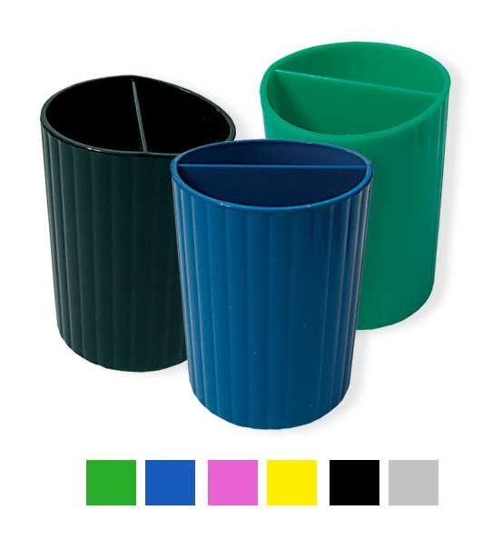 Подставка-стакан для ручек, синий пластик СТРП-02
