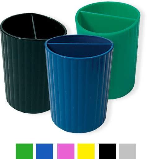 Подставка-стакан для ручек, серый пластик СТРП-02