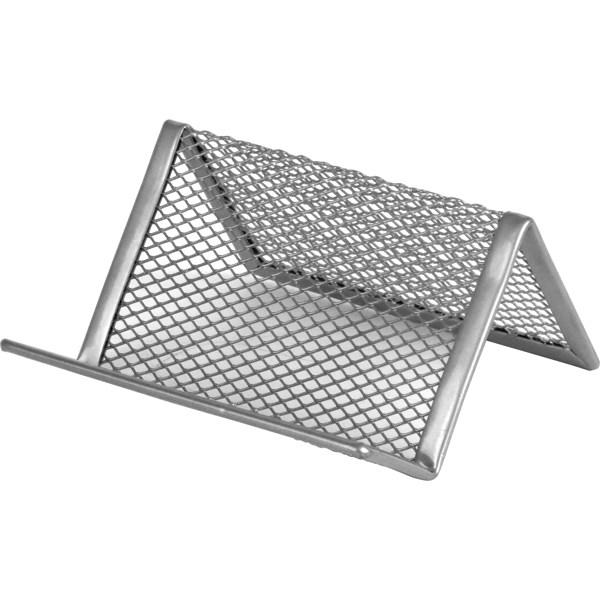 Подставка для визиток 95x80x60мм, металлическая, серебр