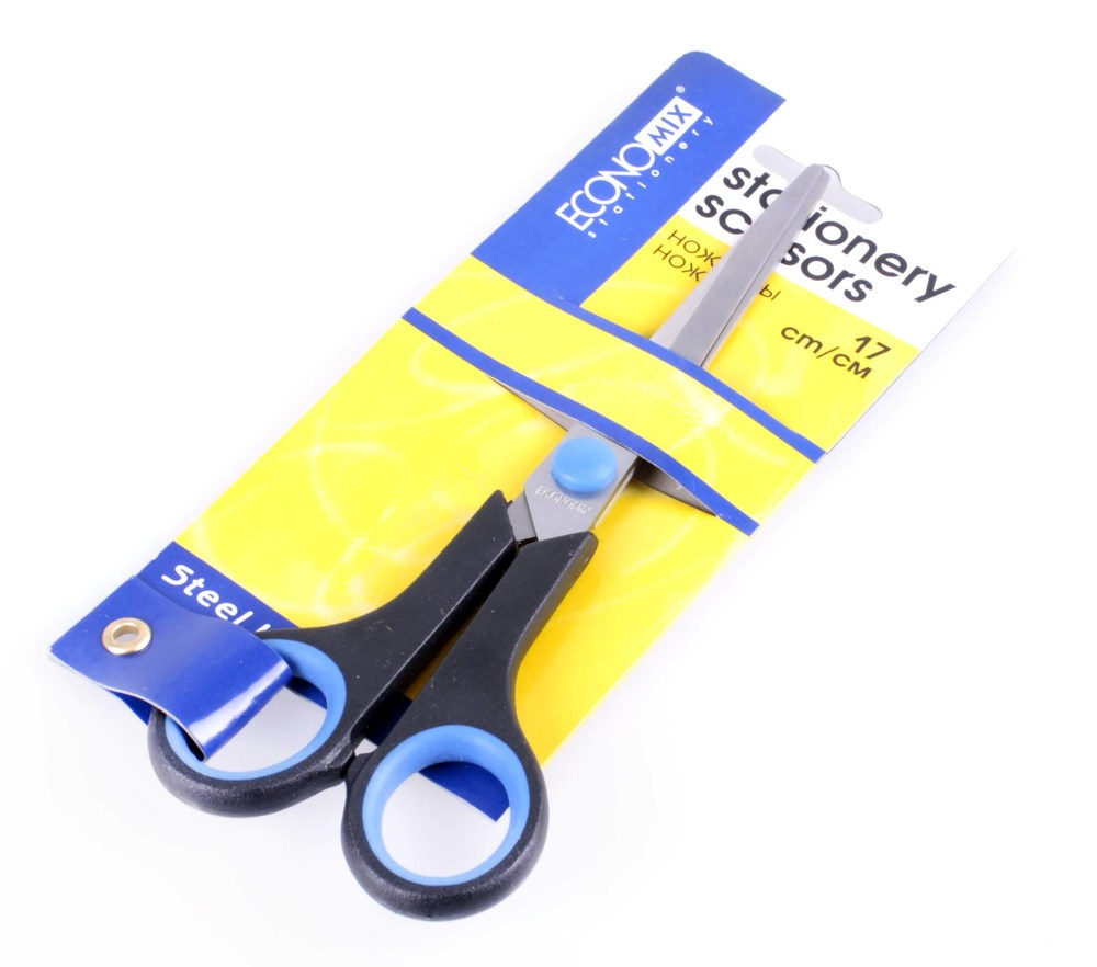 Ножницы 17 см Economix c резин. вставками, ассорти