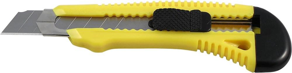 Нож канцелярский большой 18мм Delta, желтый, мет. направляющая