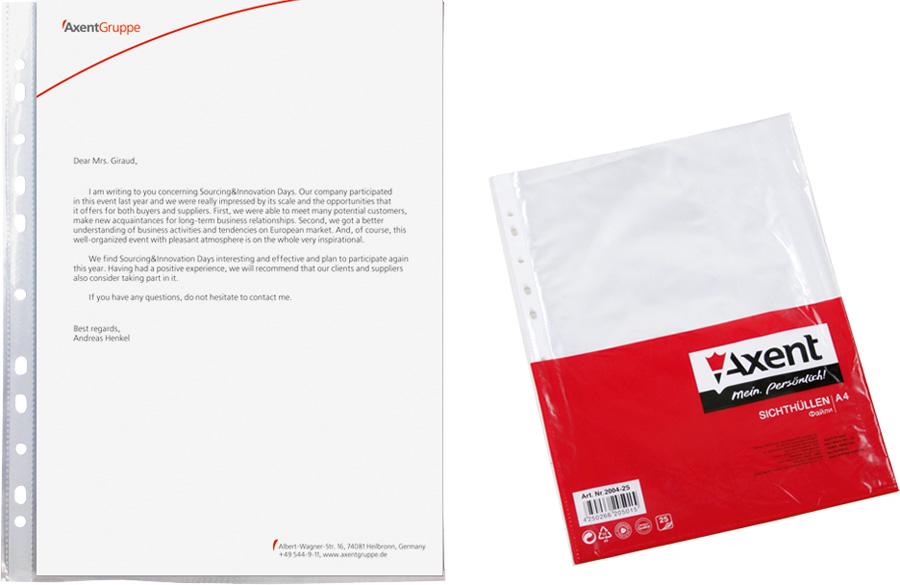 Файл-конверт А4+ Axent 40 мкр глянцевый, 100 штук