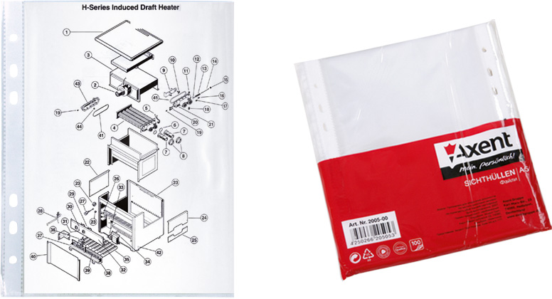 Файл-конверт А5 глянцевый Axent, 40 мкр 100 штук