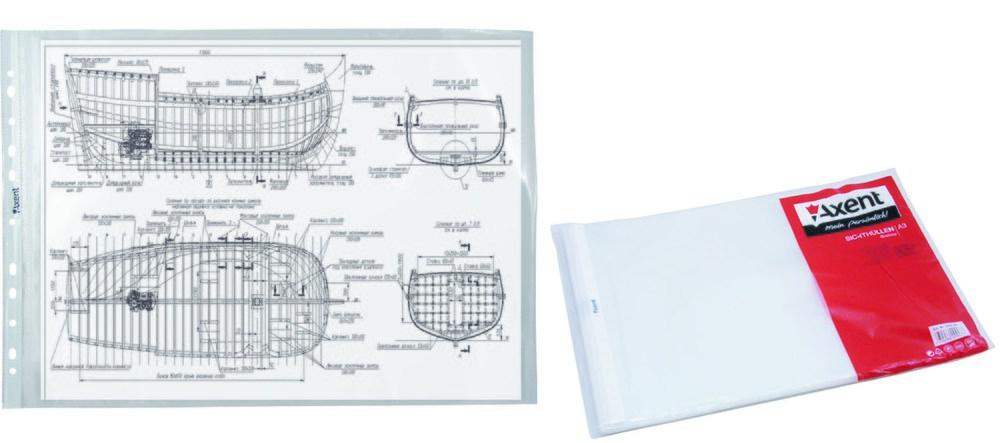Файл-конверт А3 глянцевый Axent, 40 мкр 100 шт. горизонт.