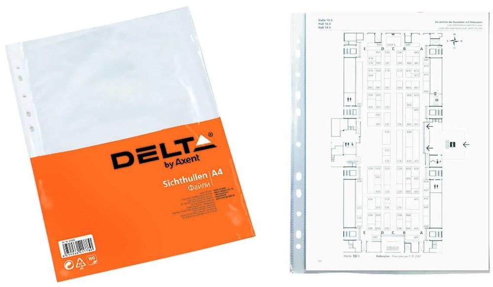 Файл-конверт А4 Delta прозрачный, бюджет 100 шт