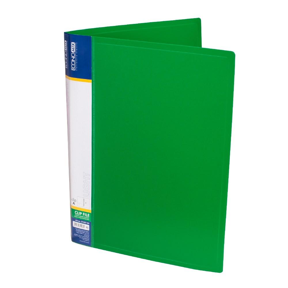 Папка с пружиной А4 пластик. CLIP A Light, с карманом, зеленая