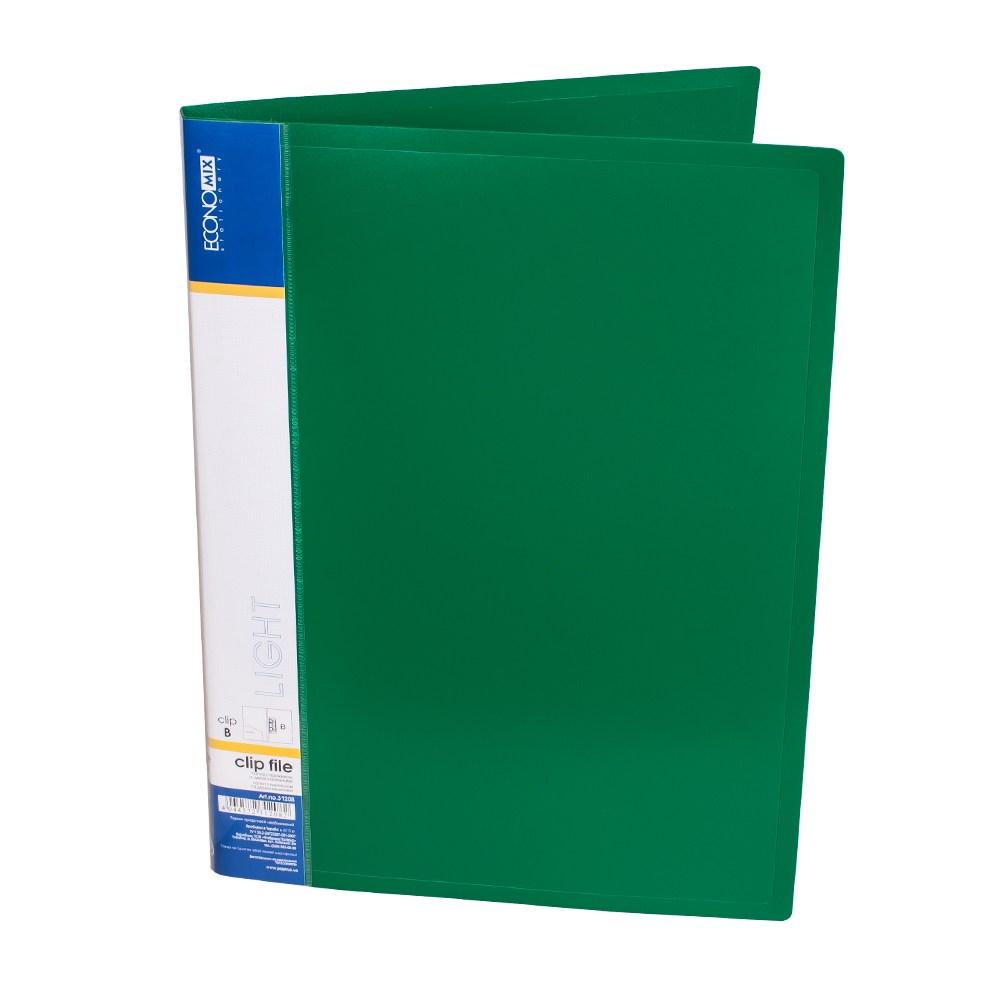 Папка с прижимом пластик CLIP B Light, с двумя карманами, зеленая