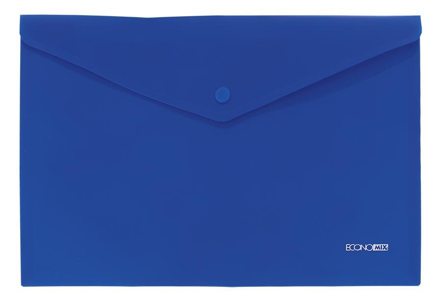 Папка на кнопке А4 пласт. непр., диагональ, синяя Economix