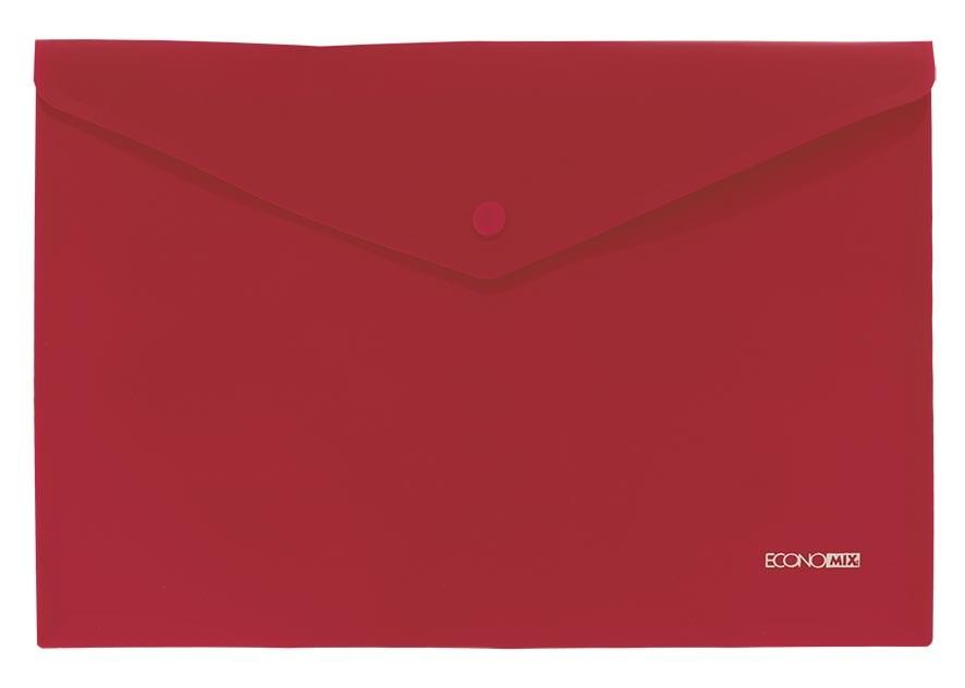 Папка на кнопке А4 пласт. непр., диагональ, красная Economix