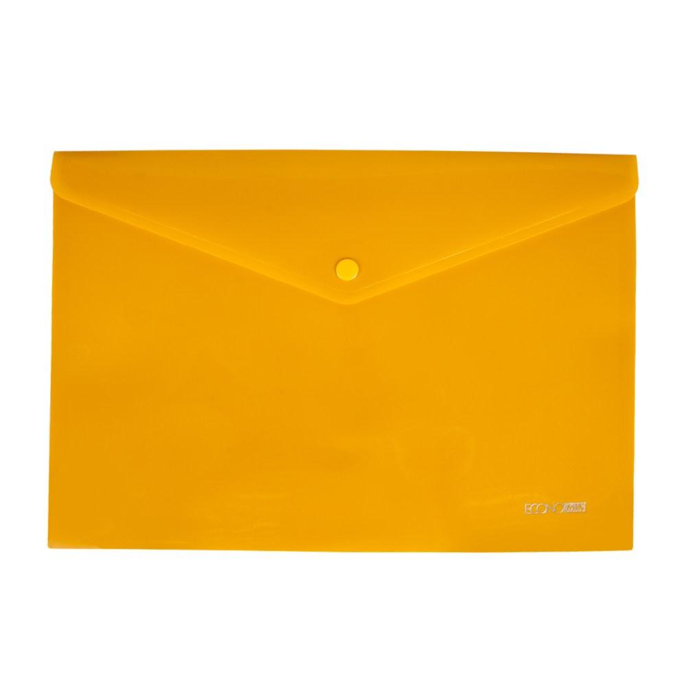 Папка на кнопке А4 пласт. непр., диагональ, желтая Economix