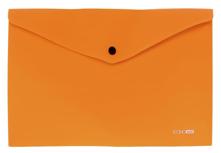Папка на кнопке А4 пласт. непр., диагональ, оранжевая Economix
