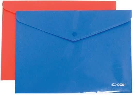 Папка на кнопке А4 пластиковая непрозрачная, ассорти Economix