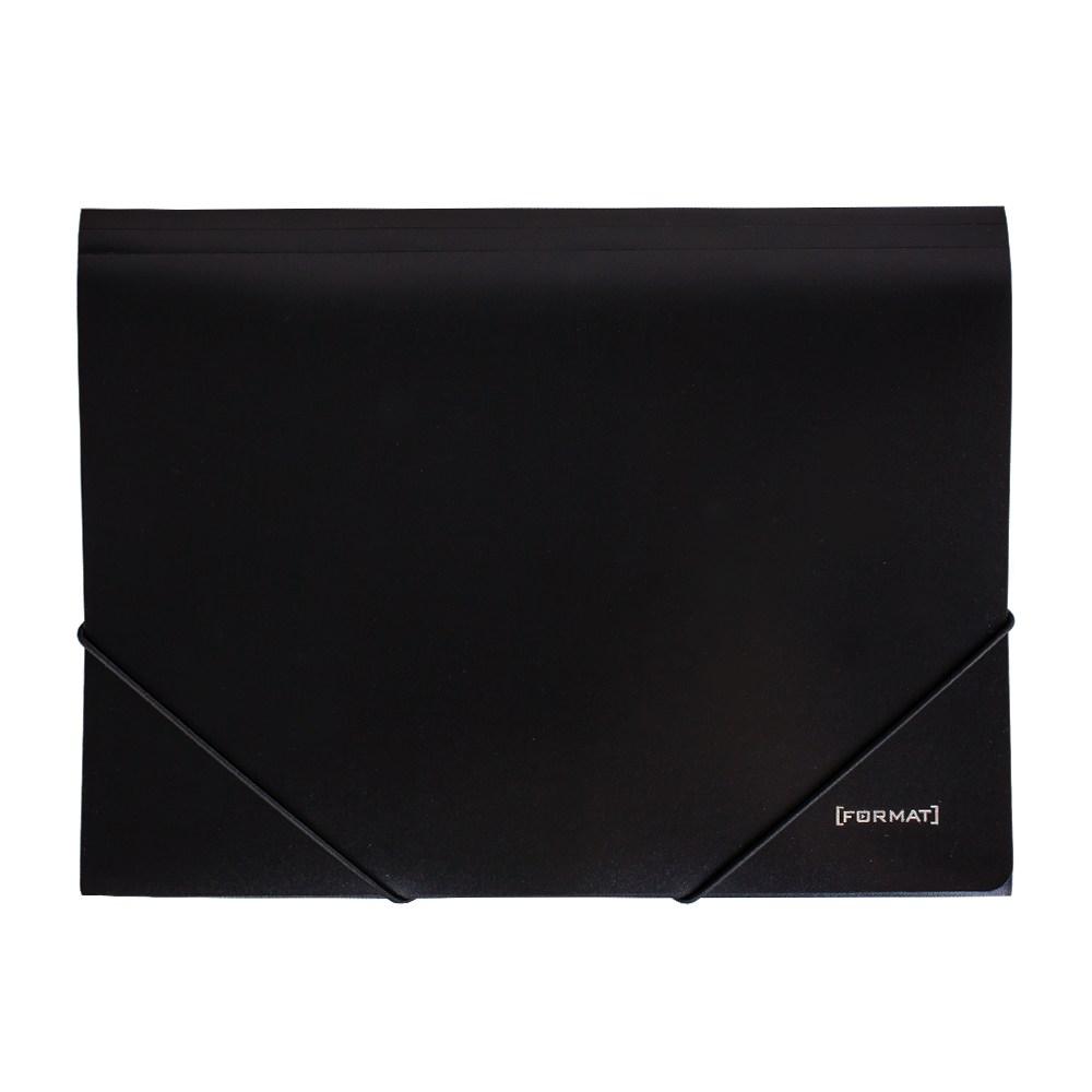 Папка пластиковая для документов на резинках  А4 FORMAT, черная