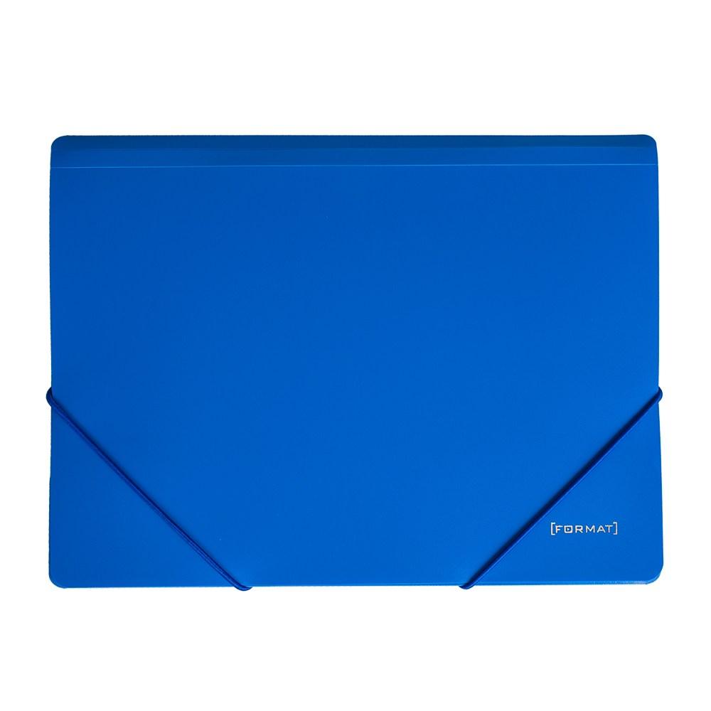 Папка пластиковая для документов на резинках  А4 FORMAT, синяя