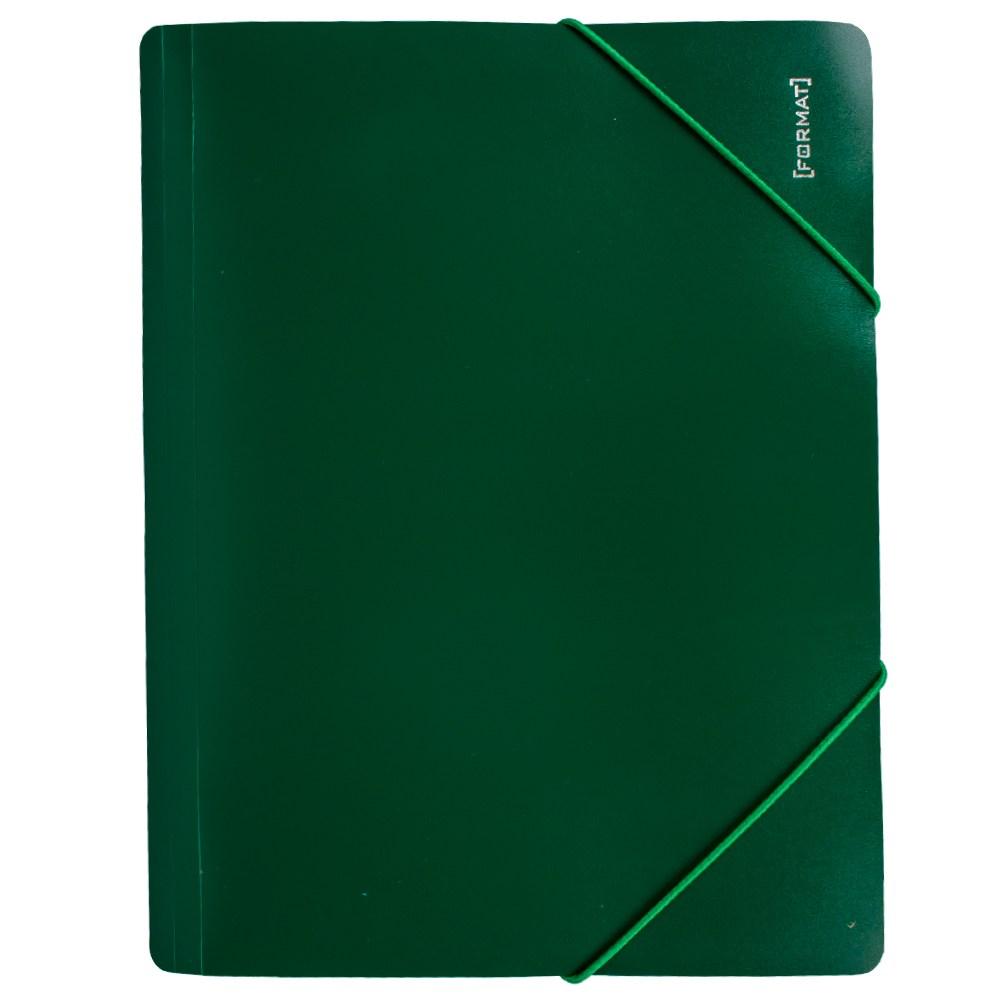Папка пластиковая для документов на резинках  А4 FORMAT, зеленая
