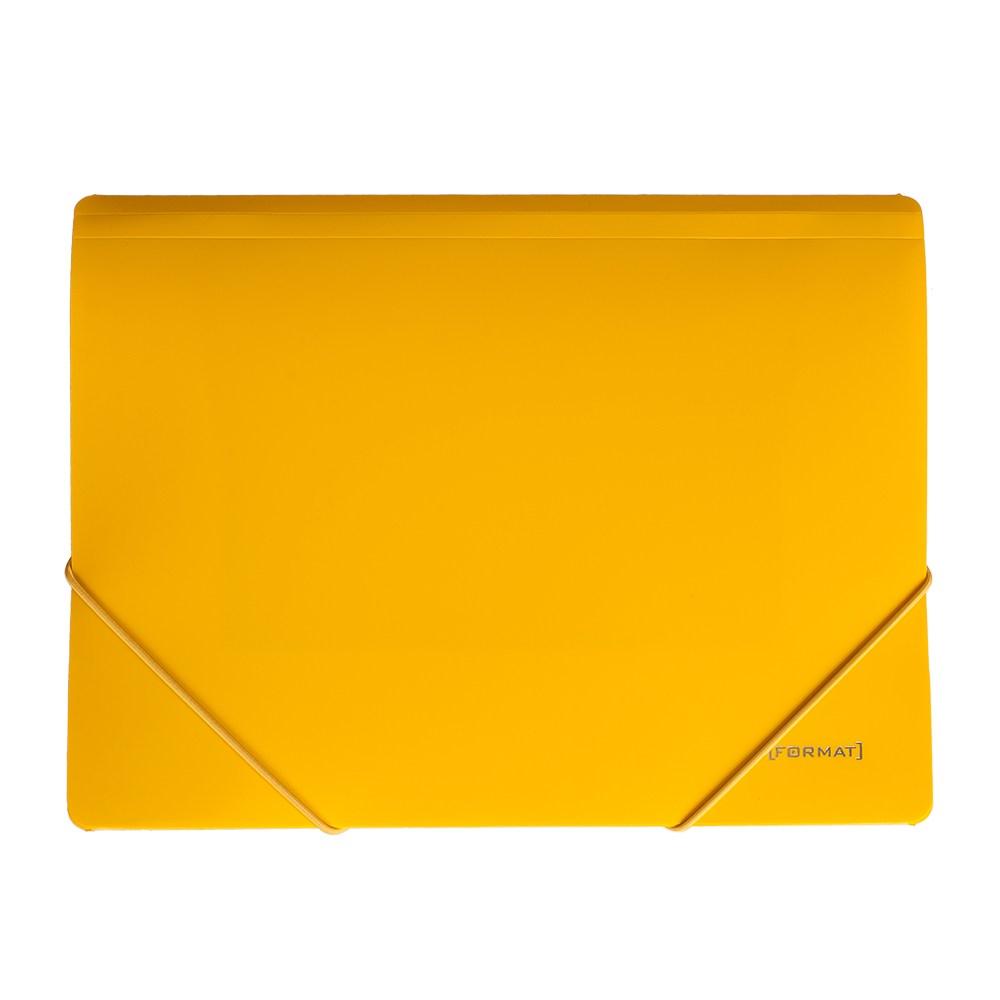Папка пластиковая для документов на резинках  А4 FORMAT, желтая