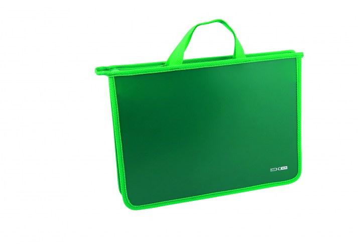 Портфель пластиковий на молнии, зеленый ECONOMIX