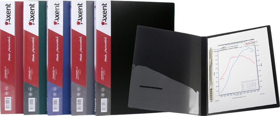 Папка-скоросшиватель с мет. пружинами A4 черная Axent