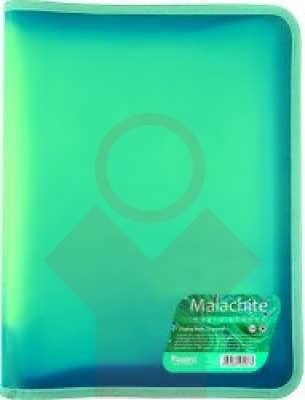 Папка объемная на молнии А4+ Малахит, бирюзовая