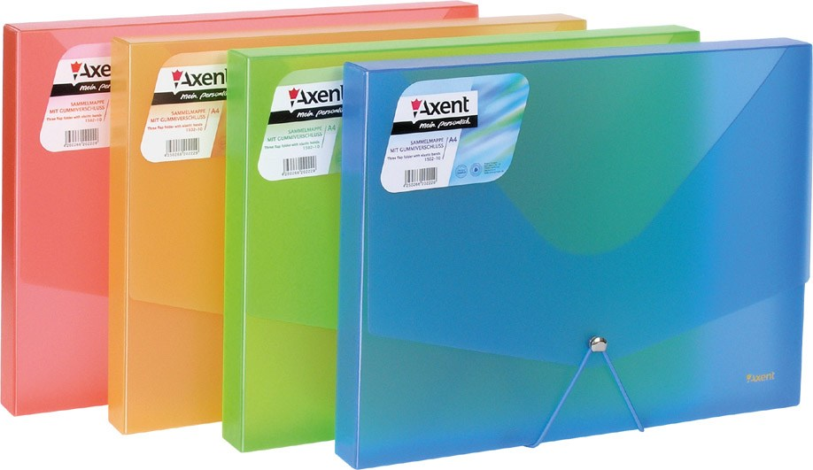 Папка на резинках объемная А4 Axent, ассорти прозр цветн.