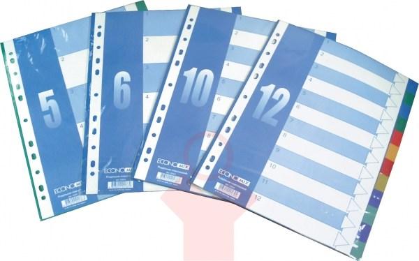 Разделитель А4 1-6 цветной пластик Economix