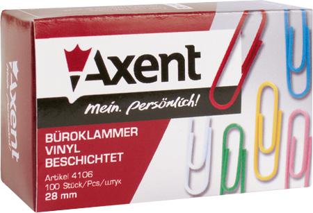 Скрепка канцелярская 28 мм, круглая, цветная, 100 шт. Axent