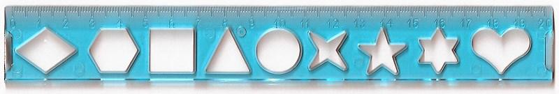 Лінійка 20 см, трафарет геометричних фігур, прозорий пластик, гравір., (6 кольорів)