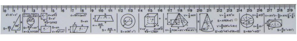 Лінійка 30 см, геометричні фігури і формули, друкована