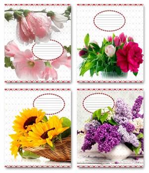 Тетрадь 60л, клетка, 031 Цветы Украины