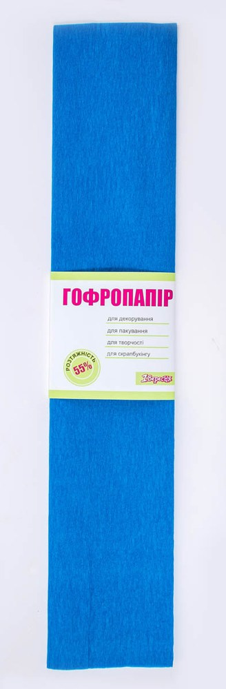 Бумага гофрированная бирюзовая, 1лист, 50*200 см