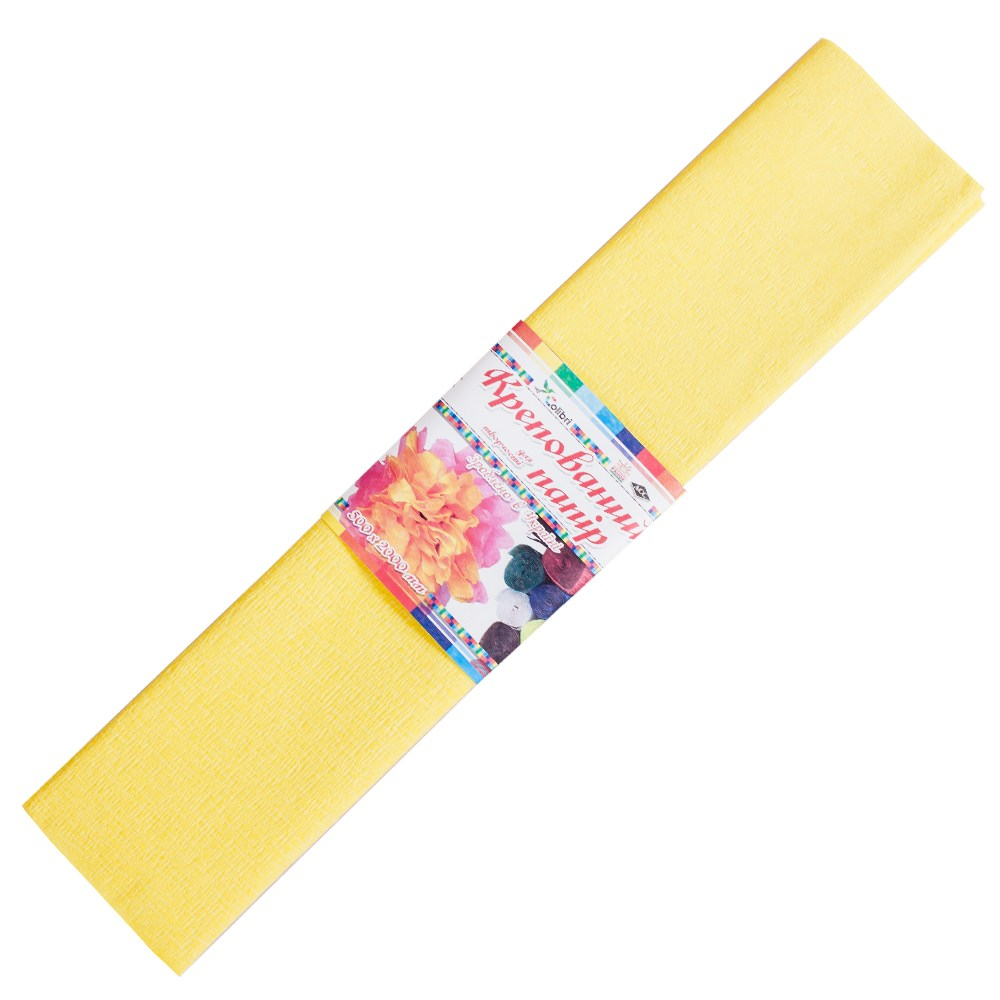 Бумага гофрированная №2, желтая 50*200 см (Мицар)
