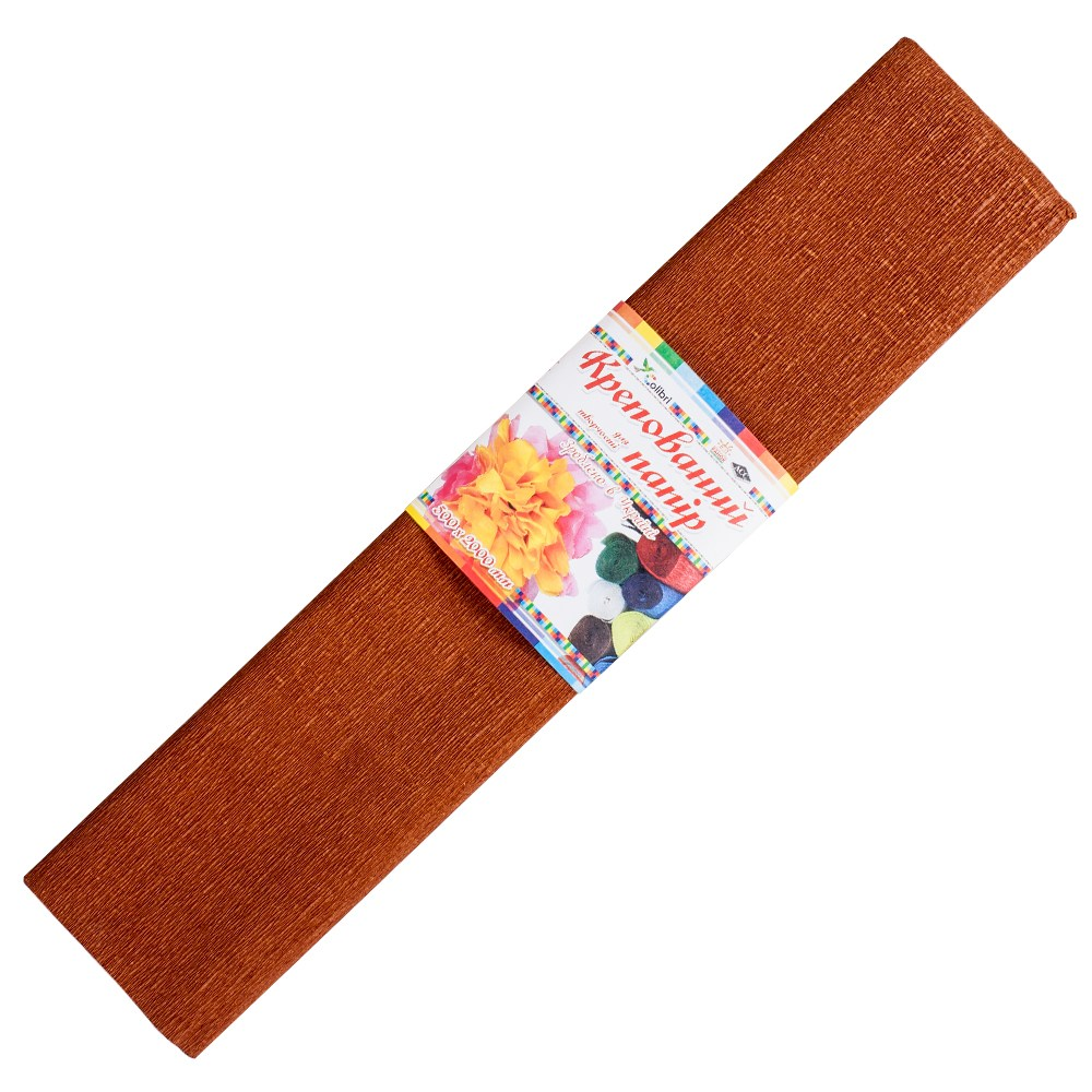Бумага гофрированная №9, коричневая  50*200 см (Мицар)