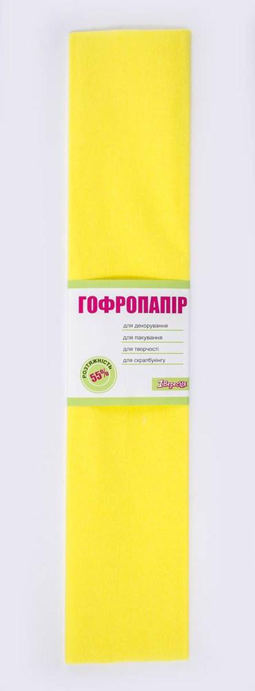 Бумага гофрированная желтая, 1лист, 50*200 см