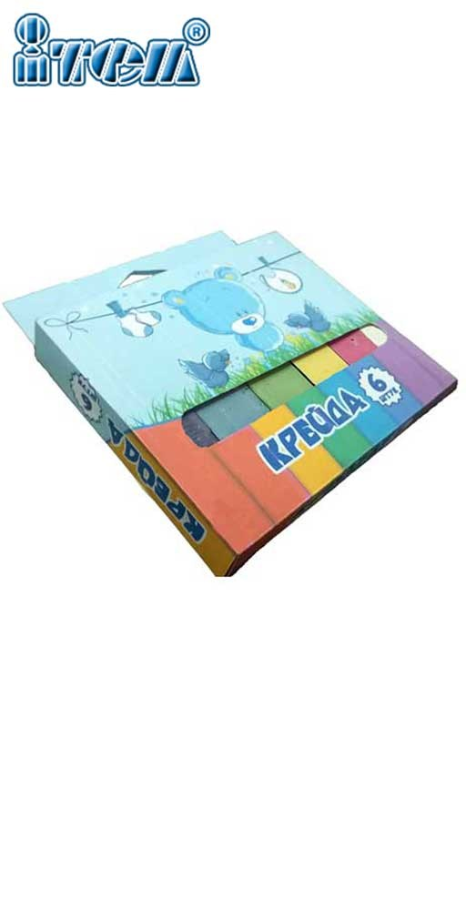 Мел школьный цветной МАКСИ (6шт) 19*19*100мм коробочка из картона