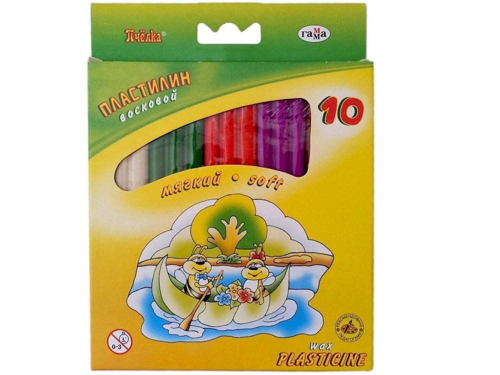 Пластилин восковой Пчелка, 10 цв., 128 г