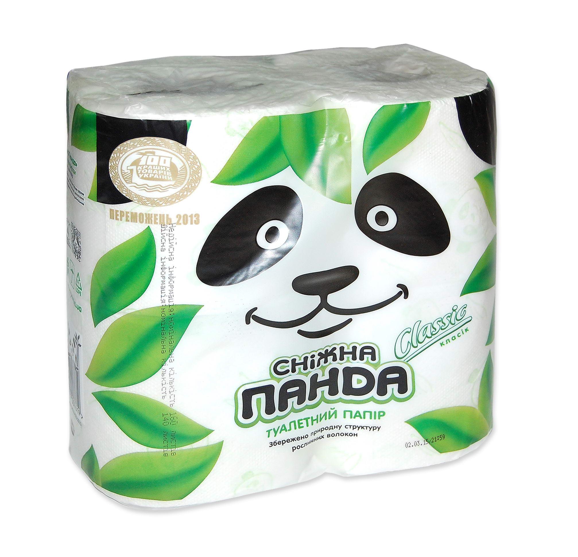 Туалетная бумага Снежная панда, белая, классик,(1уп=4шт)