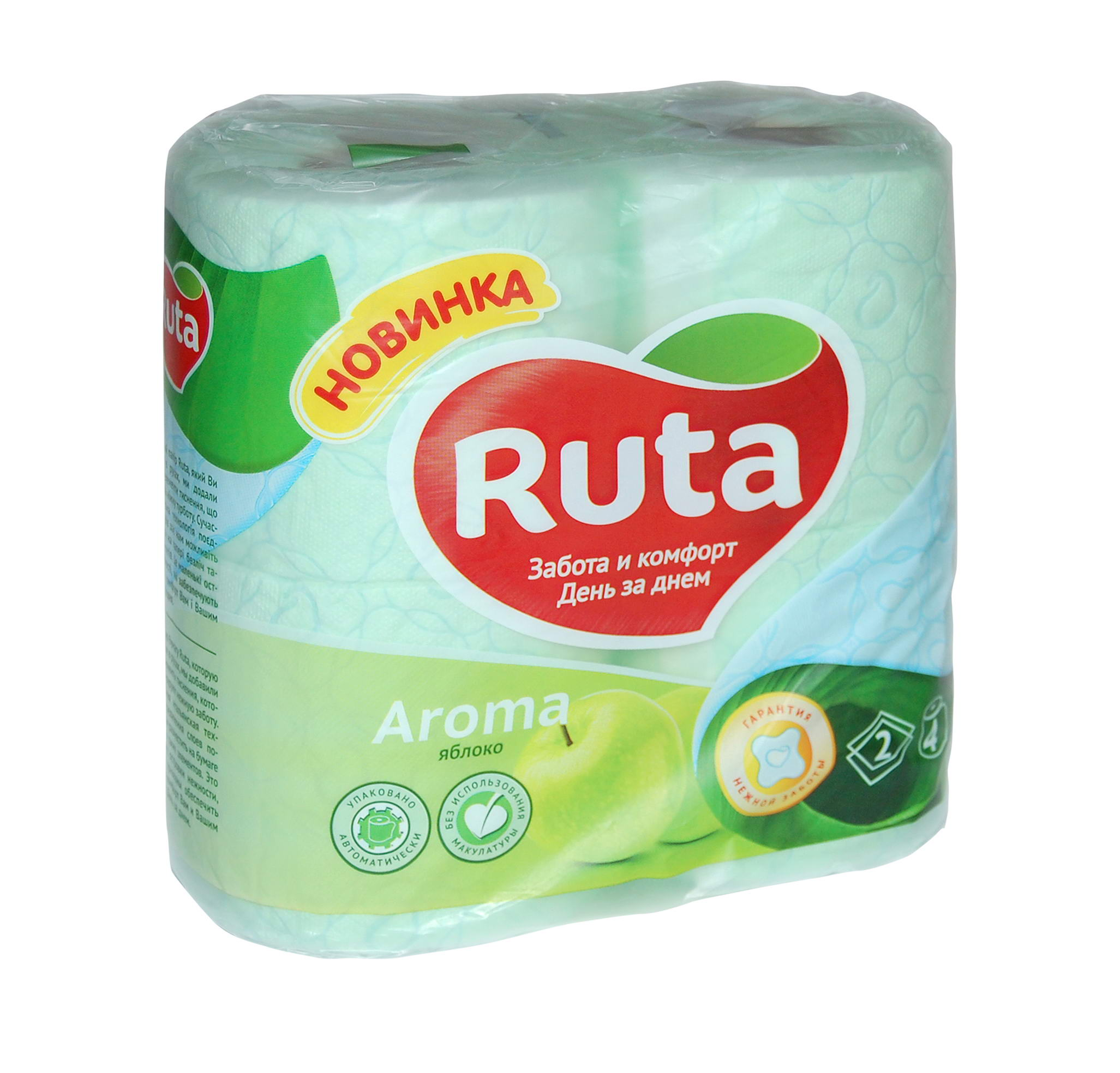 Туалетная  бумага Рута ,  цвет - зеленый, (1уп.=4шт)