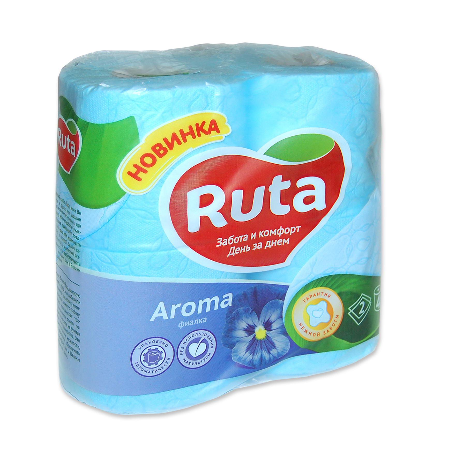 Туалетная  бумага Рута ,  цвет -голубой, 1уп.(1уп.=4шт)
