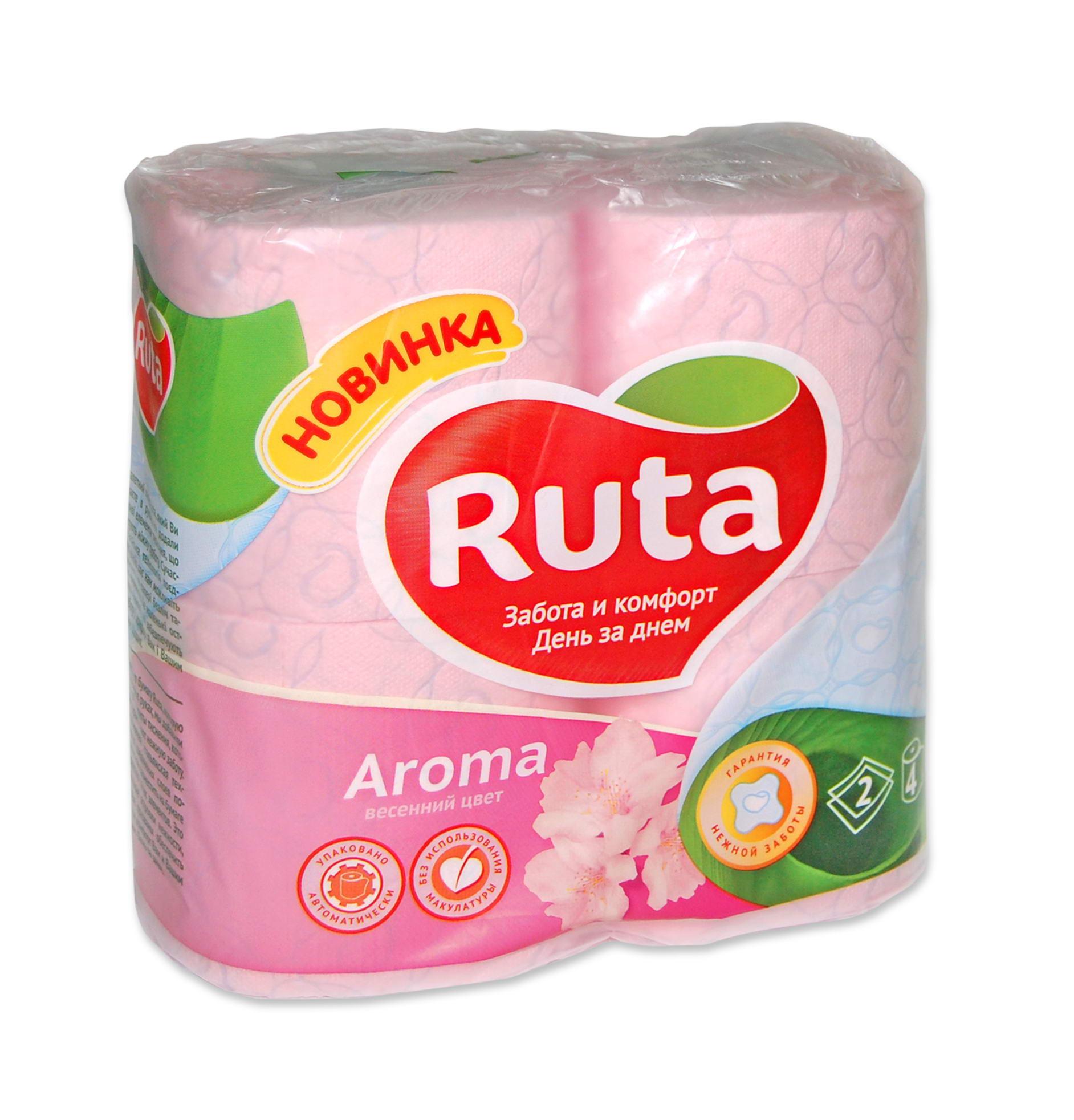 Туалетная  бумага Рута ,  цвет - розовый, (1уп.=4шт)