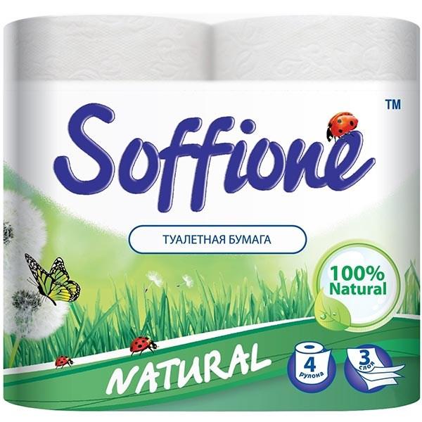 Туалетная бумага на гильзе  Soffione Naturalle  4 рул 3 слоя белый